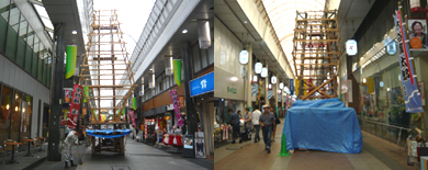川端商店街飾り山笠準備中